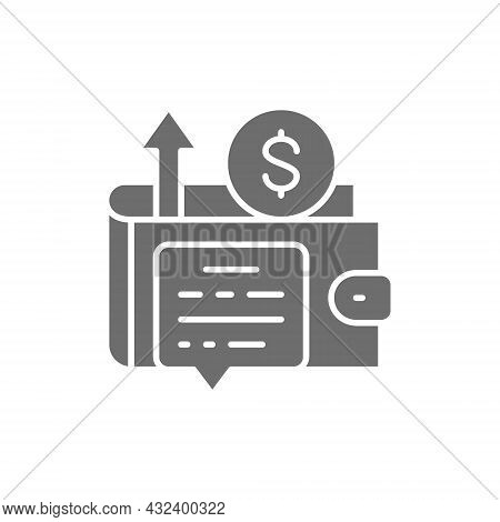Wallet With Money, Revenue Growth, Profit, Income Grey Icon.
