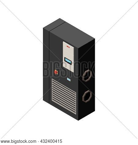 Isometric Uninterruptible Power Supply On White Background 3d Vector Illustration