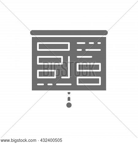 Projector Screen With Presentation, Tables, Charts Grey Icon.