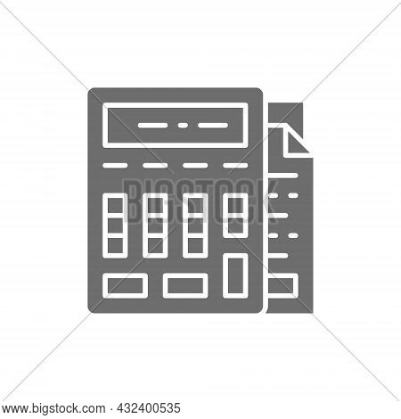 Calculator With Documents, Bookkeeping, Accounting Grey Icon.