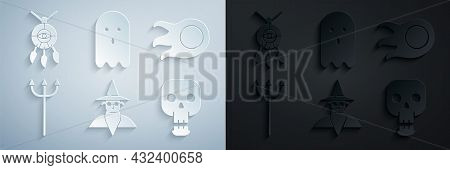 Set Wizard Warlock, Fireball, Neptune Trident, Skull, Ghost And Dream Catcher With Feathers Icon. Ve