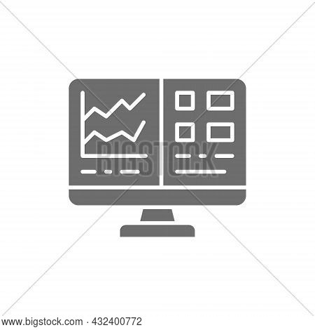 Computer Screen With Spreadsheet, Financial Accounting Report Grey Icon.