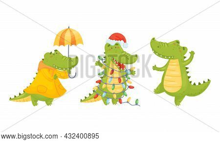 Green Crocodile Or Gator Character Walking In Raincoat With Umbrella And Wrapped In Garland Vector S