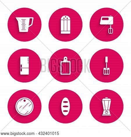 Set Cutting Board, Bread Loaf, Blender, Spatula, Refrigerator, Electric Mixer And Measuring Cup Icon