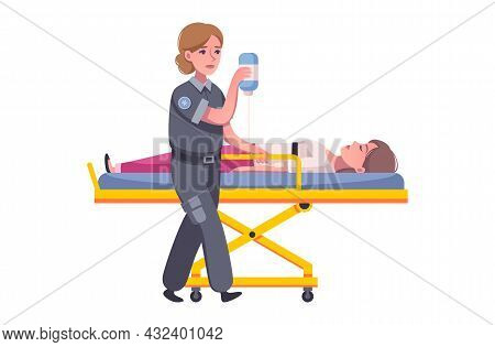 Ambulance Icon With Cartoon Characters Of Paramedic And Injured Person Vector Illustration