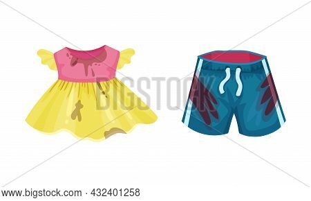 Spotted Kid Dress And Shorts As Dirty Clothing With Stain For Laundry Vector Set