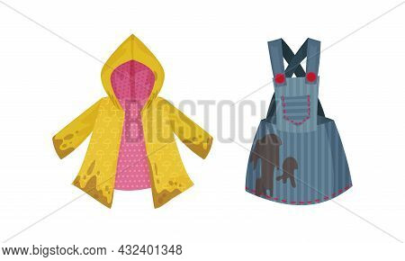 Spotted Raincoat And Pinafore As Dirty Clothing With Stain For Laundry Vector Set