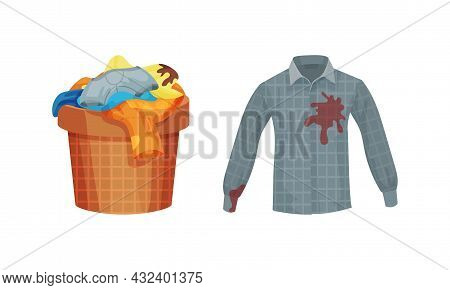 Spotted Shirt And Basket With Dirty Clothing With Stain For Laundry Vector Set