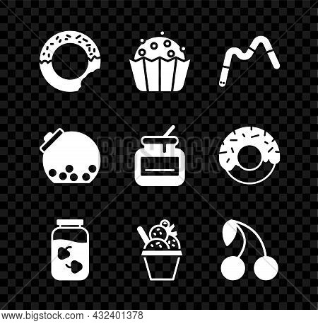 Set Donut, Cupcake, Jelly Worms Candy, Strawberry Jam Jar, Ice Cream In Bowl, Cherry, Glass With Can