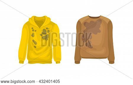 Spotted Hoody And Sweater As Dirty Clothing With Stain For Laundry Vector Set