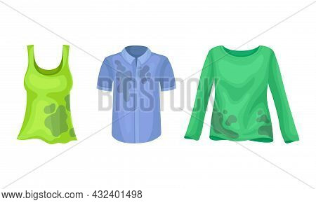 Spotted Shirt And Tank Top As Dirty Clothing With Stain For Laundry Vector Set