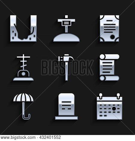 Set Hammer, Grave With Tombstone, Calendar Death, Decree, Parchment, Scroll, Umbrella, Cross, Death