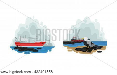 Environmental Issue And Ecological Problem With Water Contamination With Chemical Waste Vector Set