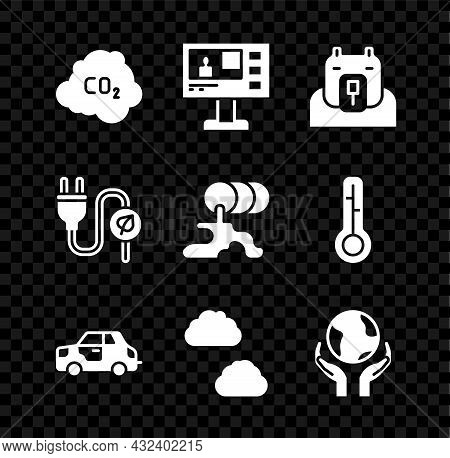 Set Co2 Emissions In Cloud, Television Report, Polar Bear Head, Car, Cloud, Hands Holding Earth Glob