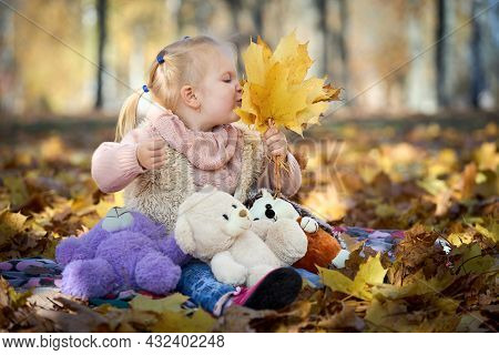 Little Beautiful Girl With Earrings Sniffs Yellowed Autumn Maple Leaves In Her Hand In Autumn Park O