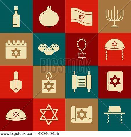 Set Orthodox Jewish Hat, Jewish Torah Book, Kippah, Flag Of Israel, Sweet Bakery, Calendar, Wine Bot