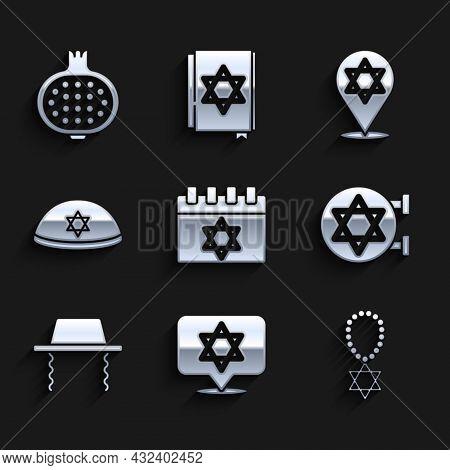 Set Jewish Calendar, Star Of David, Necklace On Chain, Synagogue, Orthodox Jewish Hat, Kippah, And P