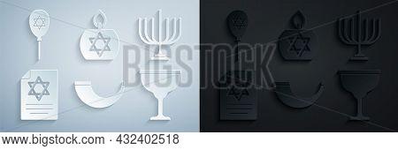 Set Traditional Ram Horn, Shofar, Hanukkah Menorah, Torah Scroll, Jewish Goblet, Burning Candle And