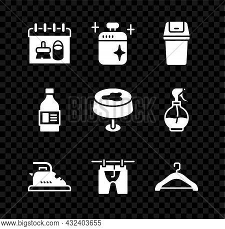 Set Cleaning Calendar, Cooking Pot, Trash Can, Electric Iron, Drying Clothes, Hanger Wardrobe, Bottl