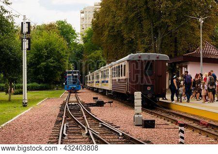 Kyiv, Ukraine-august 22, 2021:scenic Landscape View Of Railway Station With Narrow Gauge Locomotive