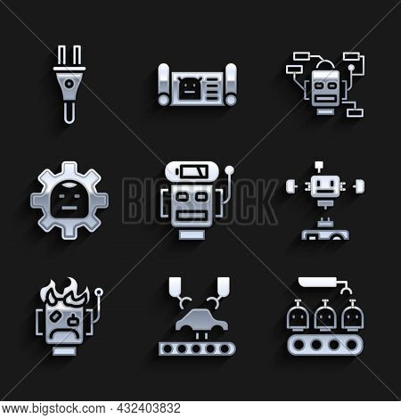 Set Robot Low Battery Charge, Robotic Robot Arm On Factory, Industrial Production Of Robots, Disasse