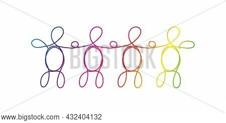 Line Art Diversity, Lgbtq Concept. A Group Of Four Different People Drawn With One Line, Rainbow Col