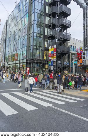 Tokyo, Japan - January 4,2020 : Crowd Of People Walking In Front Of Harajuku Train Station In Tokyo,