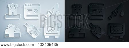 Set Whiskey Bottle, Bloody Knife, Murder, Safe, System Bug And Arson Home Icon. Vector