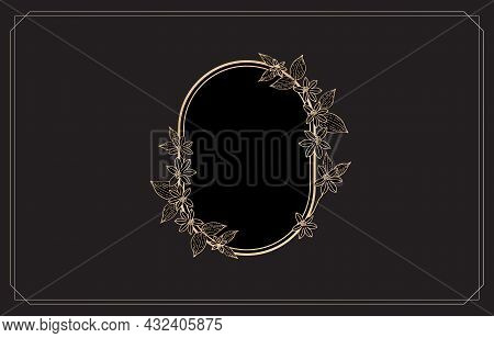 Golden Frame With Flower Ornament Pattern. Ellipse Frame Elements With Color Gold Isolated Black Bac