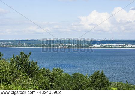 The River Volga In Ulyanovsk City, View From The Hill