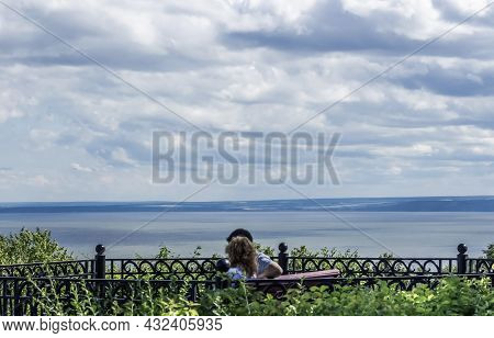 The Wide Volga River In The City Of Ulyanovsk, View From The Shore