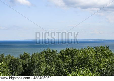Endless Expanses Of Fresh Water In The Volga River In The City Of Ulyanovsk, View From The Shore
