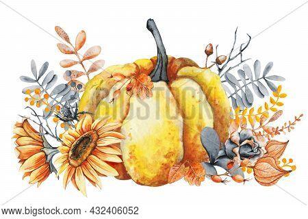 Pumpkin, Sunflower And Fall Leaves Bouquet. Thanksgiving And Halloween Design Template. Hello Autumn