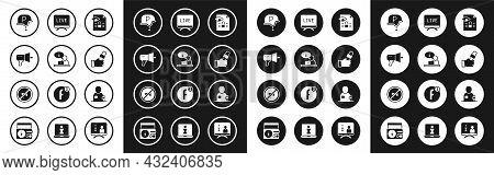 Set Journalistic Investigation, Television Report, Megaphone, War Journalist, News, Live, And Censor