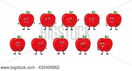 Character Apple Smiles, Rejoices, Is Sad, Is Angry, Is Surprised, Is Angry.