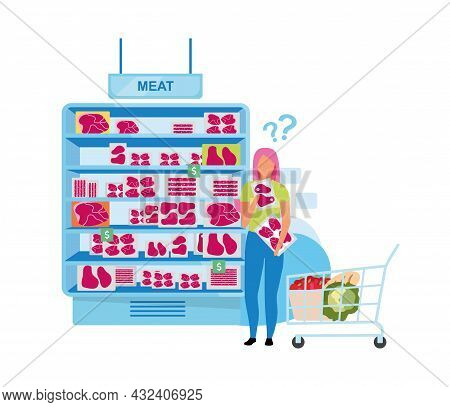 Female Customer Standing Near Meat Freezer Semi Flat Color Vector Character. Full Body Person On Whi