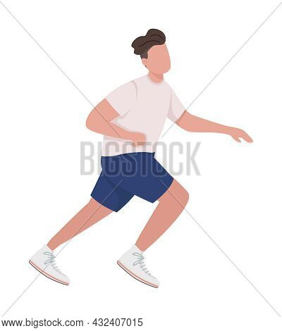 Male Sprinter Semi Flat Color Vector Character. Jumping Figure. Full Body Person On White. Participa