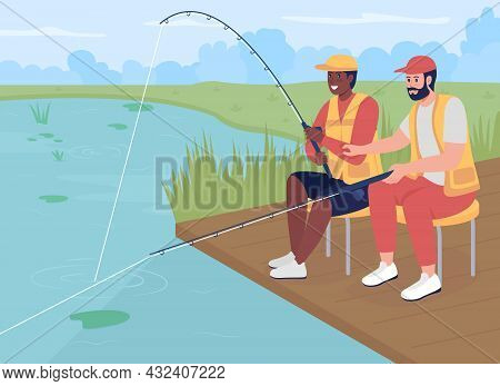 Fishing With Friend Flat Color Vector Illustration. Recreational Hobby. Men Sitting Baiting Fish. Re