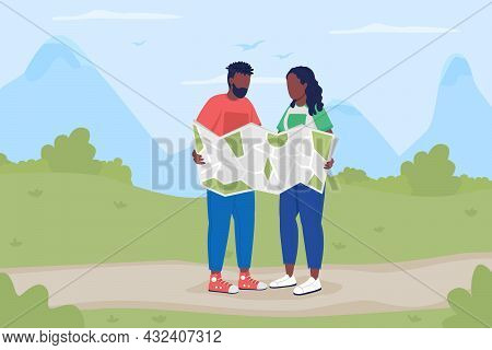 Trekkers With Map On Road Flat Color Vector Illustration. Backpackers Planning Tour. Boyfriend And G