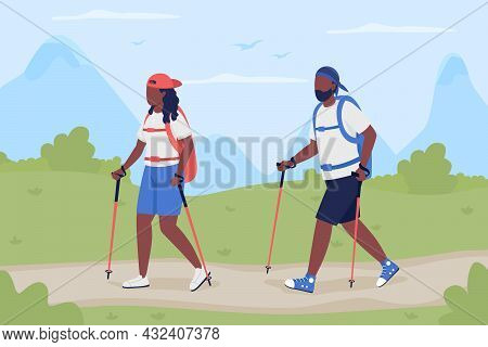 Couple Trekking Together Flat Color Vector Illustration. Hikers Traveling. Explorers On Road In Wild
