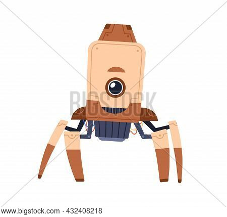 Cute Single-eyed Robot Toy Standing On Metal Legs-tentacles. Funny Childish Futuristic Bot. Portrait