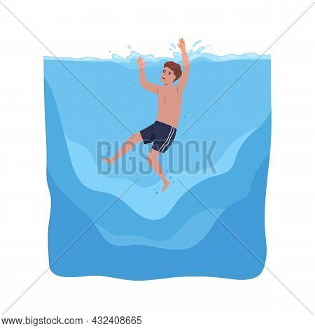 Child Sinking In Water. Kid In Danger During Sea Swimming. Boy Drowning And Calling For Help With Ha