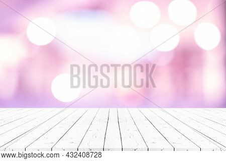 Perspective Empty White Wooden Table On Top Over Blur Background, Can Be Used Mock Up For Montage Pr