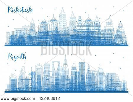 Outline Riyadh Saudi Arabia and Rishikesh India City Skyline Set with Blue Buildings. Business Travel and Tourism Concept with Historic Architecture. Cityscape with Landmarks.