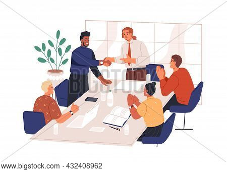People Congratulate Colleague At Meeting In Office. Happy Manager Handshaking Business Partner With