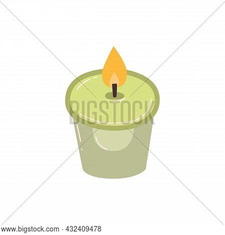Green Burning Scented Candle, Vector Illustration. Modern Home Decor On A Light Isolated Background.