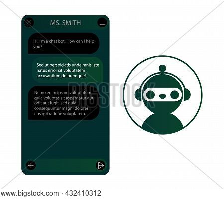 Chat Bot Window With Robot Icon Set. User Interface Of Application With Online Dialogue. Conversatio