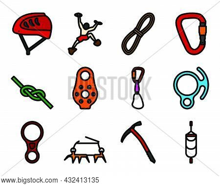 Alpinist Icon Set. Editable Bold Outline With Color Fill Design. Vector Illustration.