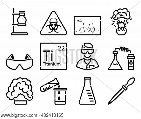 Chemistry Icon Set. Bold Outline Design With Editable Stroke Width. Vector Illustration.
