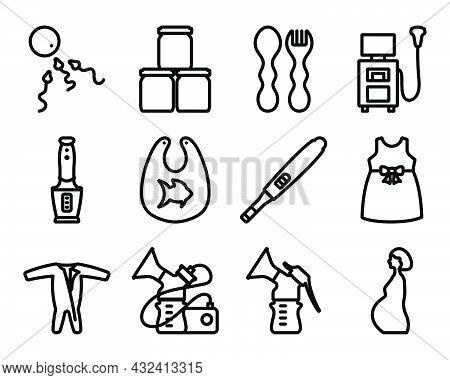 Motherhood Icon Set. Bold Outline Design With Editable Stroke Width. Vector Illustration.